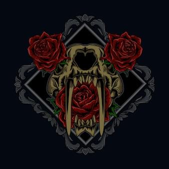 Иллюстрационная и футболка дизайн тигровый череп и роза в орнамент
