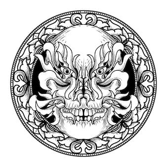 Иллюстрация дизайн и футболка дизайн золотой козел череп орнамент
