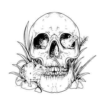 Черно-белая рука рисованные иллюстрации человеческий череп с крысами премиум