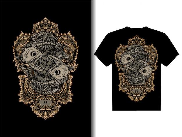 Иллюстрация для дизайна футболки рыбы скелет зодиак череп