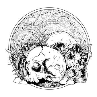 Татуировка и дизайн футболки черно-белые рисованной иллюстрации череп с деревянной травой и камнем