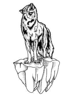 Волк ревет черно-белая иллюстрация