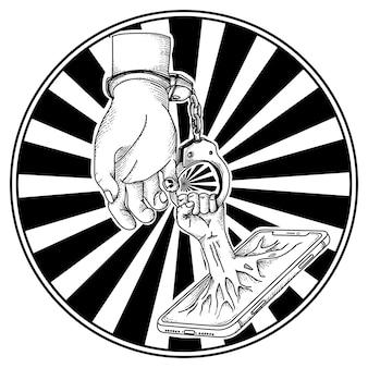 人間の手とスマートフォンと手錠
