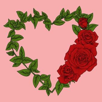 Работа иллюстрация любовь граница роза премиум
