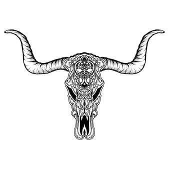 Тату и футболка дизайн коза рог череп череп растительный орнамент премиум