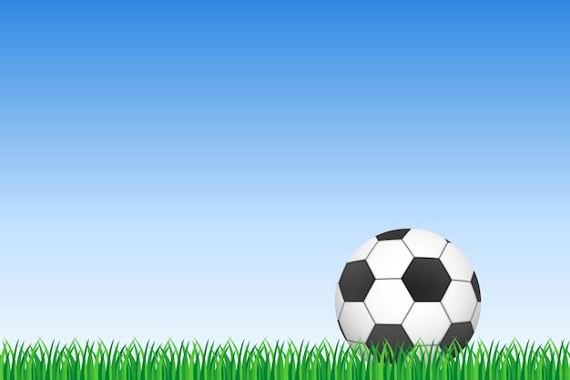 Футбольный мяч на зеленой траве и голубом небе