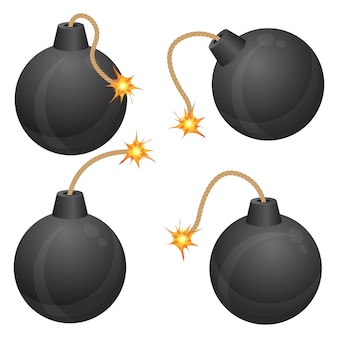 Бомба с горящим предохранителем векторная иллюстрация на белом