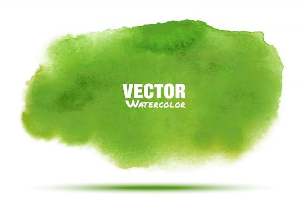 明るい緑水彩スミア汚れが分離されました。アクアレルグリーンブラシストローク洗浄描画スポットをぼかし