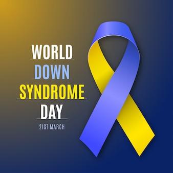 Всемирный день синдрома дауна. синий и желтый знак ленты изолированы