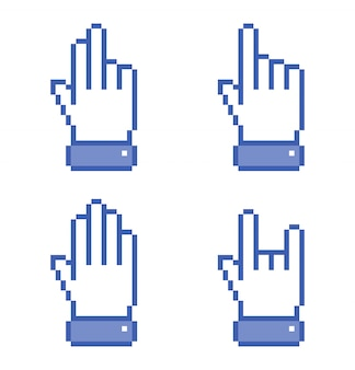 青いピクセル手アイコンのセット。図。