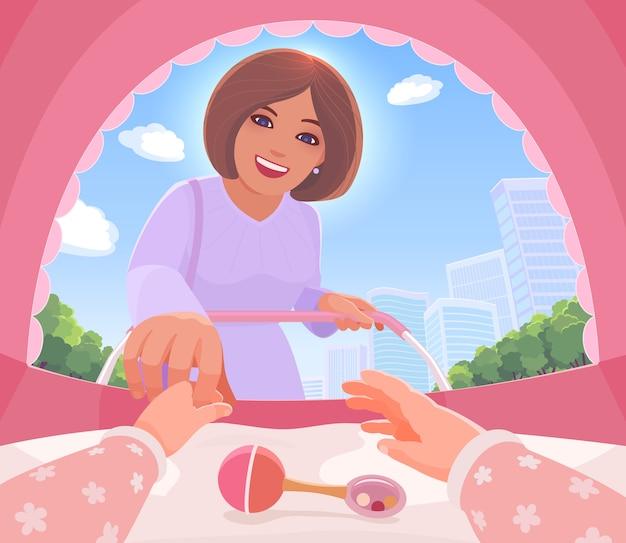 Взгляд глазами младенца. счастливая мама стоит, наклонившись к коляске, держит за руку новорожденную дочь. взгляд от первого лица изнутри коляски. прогулка по летнему городу.