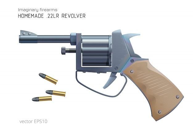 自家製リボルバー。現実的な小口径銃。粗皮鉄。溶接パイプ製の回転チャンバーを備えた安価な銃器。