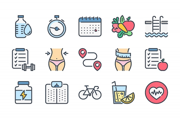Фитнес связанные набор иконок цвет линии.