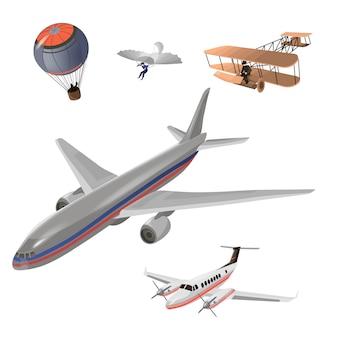 飛行機のイメージデザインセット。気球、ハンググライダー、古い飛行機モデル、プライベートジェット、旅客機。