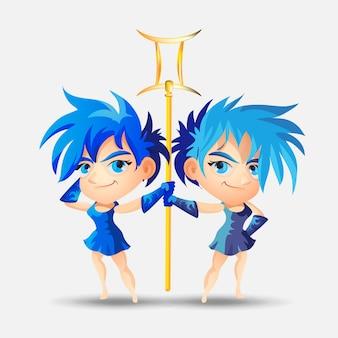 Знаки зодиака - близнецы. цветная иллюстрация. близнецы забавный милый мультипликационный персонаж. близнецы изолированные на белом фоне полиграфический дизайн, прогноз, гороскоп