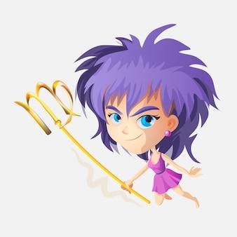 Знаки зодиака - дева. цветная иллюстрация. дева забавный милый мультипликационный персонаж. вигро девушка. изолированные на белом фоне полиграфический дизайн, прогноз, гороскоп