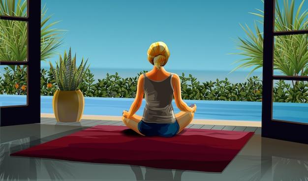 Удивительная реалистичная девушка блонди в лотосе йоги практикует медитацию на красивой внутренней сцене. практика йоги на море. иллюстрации. молодая и счастливая женщина медитирует