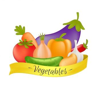 野菜は黄色いリボンで設定します。ニンジン、キュウリ、パプリカ、ジャガイモ、ニンニク、タマネギ、トマト、ナス、ピーマンの白い背景で隔離の野菜と漫画健康食品のコンセプト