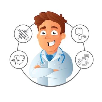 幸せな笑みを浮かべて男性若いオンラインアシスタンスと組んだ腕と医療サービスアイコンの周りの医者。