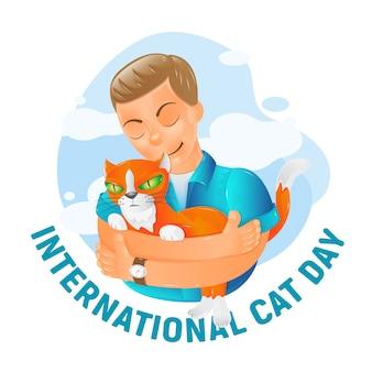 Международный день кота с милой плоской рыжей кошкой