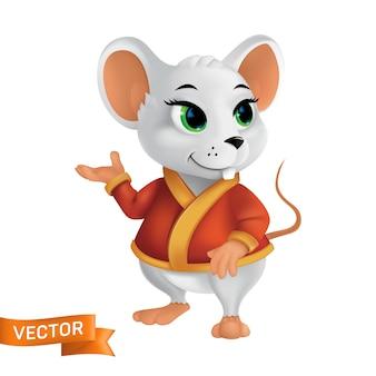 赤いバスローブまたは金色の要素を持つケープの白いマウス。中国の干支の今年の文字記号