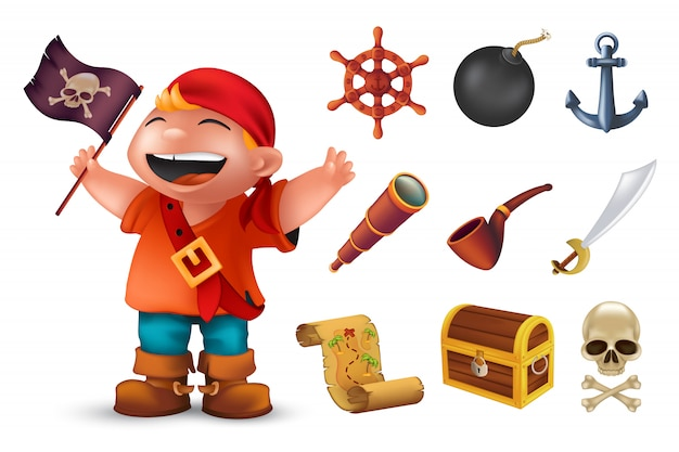幸せな少年のキャラクター、人間の頭蓋骨、サーベル、アンカー、ステアリングホイール、スパイグラス、爆弾、パイプ、黒い陽気なロジャーフラグ、胸と宝の地図で設定された海賊アイコン。白で隔離される図