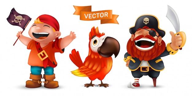 Морской пират в шляпе капитана с саблей, забавный попугай ара и счастливый смех мальчика в красном шарфе с набором черного флага на белом фоне