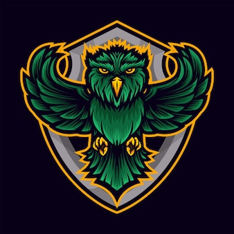 緑のフクロウスポーツロゴ