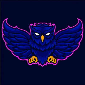 怒っているフクロウの翼のロゴのテンプレート