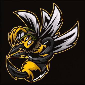 怒っているホーネット蜂軍隊のロゴのテンプレート