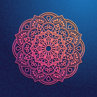 飾りの輪郭、グラデーションカラーのイスラムモチーフの背景