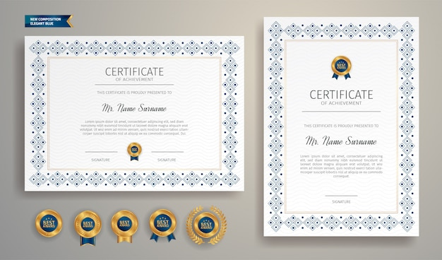 Простая рамка сертификата синего цвета с золотым значком и шаблоном границы