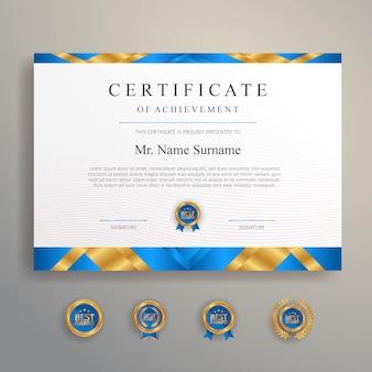 Синий и золотой сертификат с эмблемой вектора шаблона значка и границы.