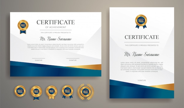 Синий и золотой сертификат со значком и рамкой