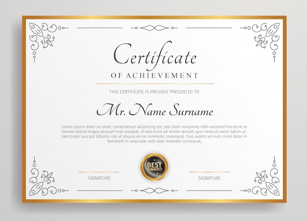 Шаблон дипломного сертификата премиум-класса,