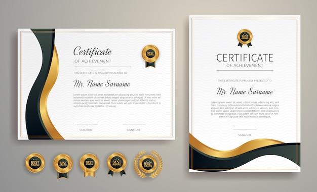 Черно-золотой сертификат достижения границы шаблона