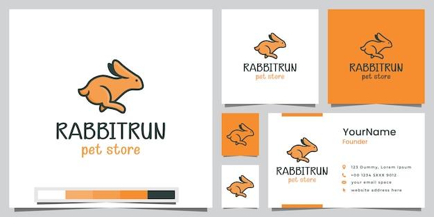 名刺付きのうさぎのペットショップのロゴデザイン