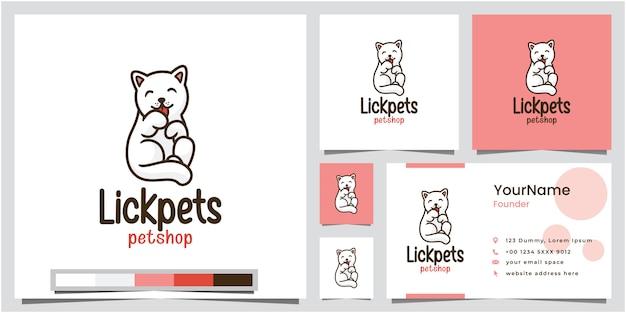 名刺とペットペットショップのロゴデザインをなめる