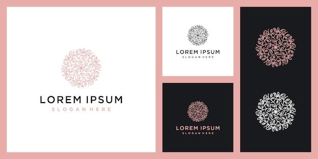Цветочный круглый винтажный элемент, экологически чистый продукт, роскошный логотип красоты