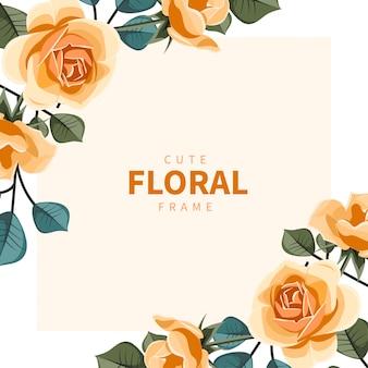 オレンジ色の花とかわいい花のフレーム