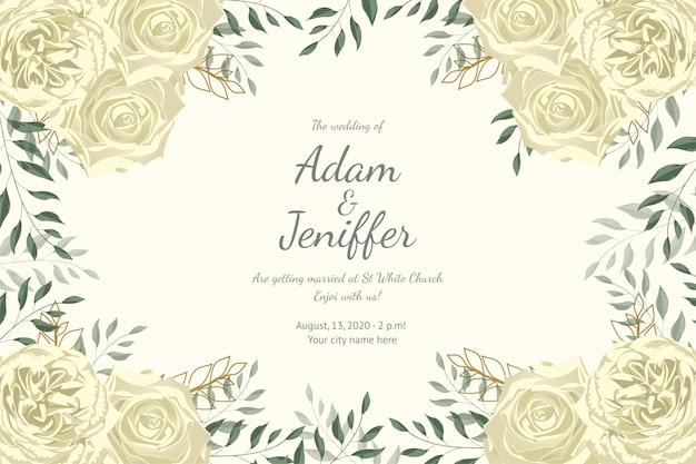 エレガントな白い花を持つ古典的なウェディングカード