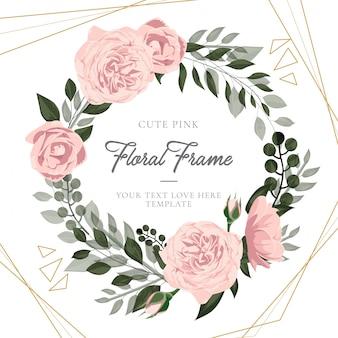 葉とエレガントなかわいいピンクの花のフレーム