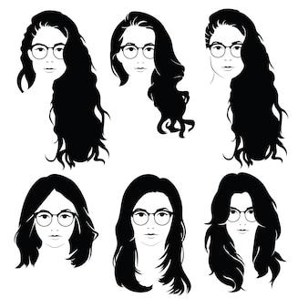 メガネの女性のためのヘアスタイルのセット。女の子のためのヘアスタイルのシルエットのコレクション。