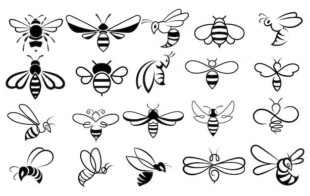 Набор пчел. коллекция стилизованных медоносных пчел