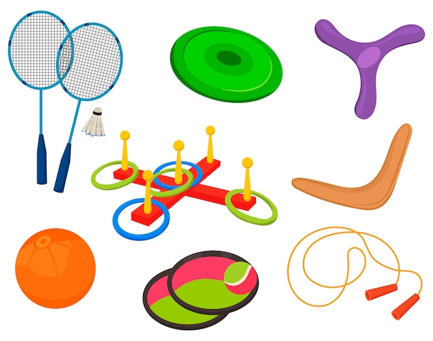 Комплект спортивного инвентаря для летних игр. коллекция предметов для активного отдыха.