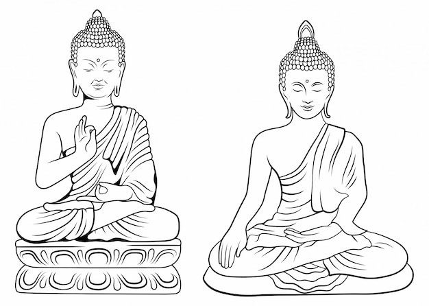 仏のセット。蓮の花のポーズで座っている瞑想のヒンドゥー教の神コレクションのコレクション。