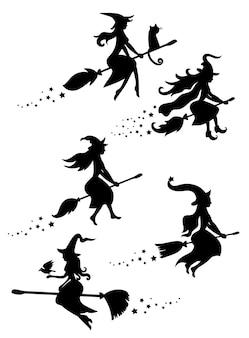 ほうきで飛ぶ魔女の黒いシルエットのセット。ハロウィーンのシルエットのコレクション。神秘的なイラスト。魔女の概要。