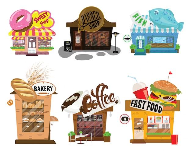 Множество магазинов. коллекция небольших мультфильмов магазинов со знаком. стилизованные торговые прилавки.