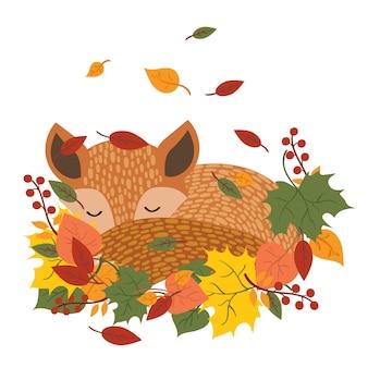 落ち葉で寝ている様式化されたキツネ。秋の漫画のキツネ。