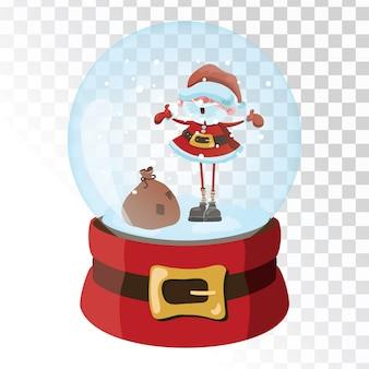サンタクロースとクリスマスガラスマジックボール。雪の結晶の透明なガラス球。